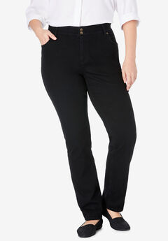Straight Leg Tummy Tamer Jean, BLACK DENIM