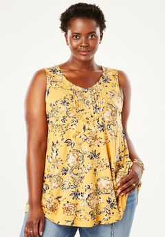 Pintucked Tank by Chelsea Studio®, HONEY GOLD FLORAL, hi-res