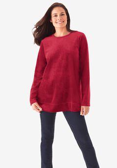 Plush Velour Tunic Sweatshirt,