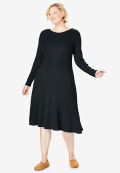 Rib Knit Sweater Dress, BLACK