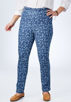 Straight Leg Fineline Jean, BLUE DENIM FLOWER