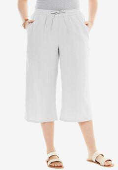 Drawstring Linen Culottes, WHITE, hi-res
