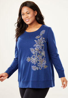French Terry Sweatshirt, EVENING BLUE EMBROIDERY