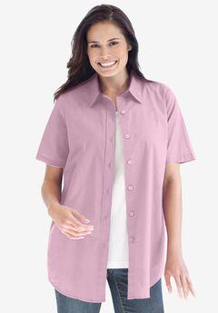 Perfect Short Sleeve Button Down Shirt, PINK