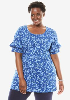 Ruffle Sleeve Tunic with Slits, TWILIGHT BLUE SOFT FLORAL, hi-res