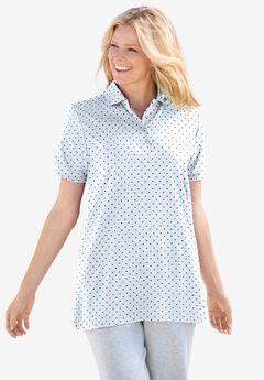 Elbow-Sleeve Polo Shirt, WHITE NAVY DOT