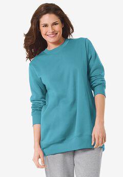 Fleece Sweatshirt, SOFT AQUA