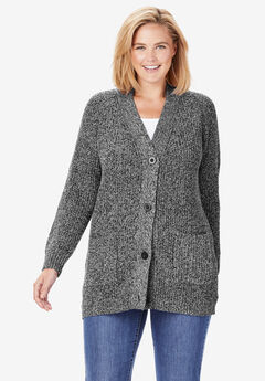 Button Front Shaker Cardigan, BLACK WHITE MARLED