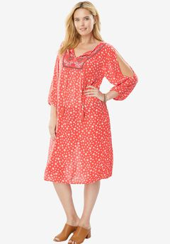 Embroidered Bib Dress, CORAL ROSE EMBROIDERY, hi-res