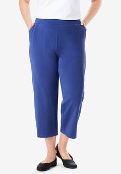 Wide Leg Cropped Relaxed Knit Pant,