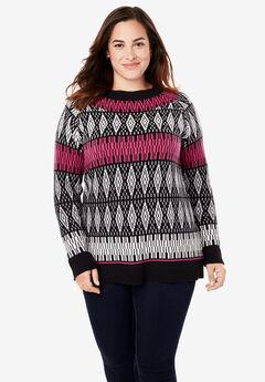 Fair Isle Knit Pullover Sweater, BLACK MULTI