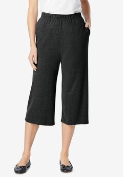 7-Day Knit Culottes, HEATHER CHARCOAL, hi-res