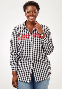 Perfect Button Down Shirt, EMBROIDERED BLACK WHITE GINGHAM