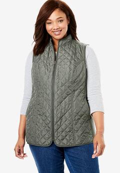 Zip-Front Quilted Vest, VINTAGE MOSS