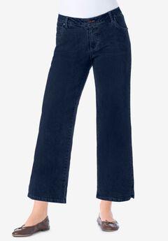 Wide-Leg Cropped Stretch Jean, INDIGO
