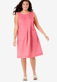 Pocketed Sleeveless Linen Dress,