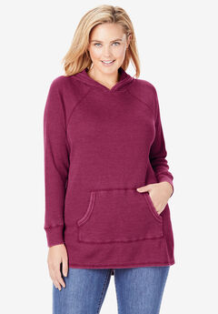 Washed Thermal Hooded Sweatshirt, DEEP CRANBERRY