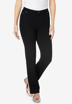 Straight Leg Stretch Jean, BLACK DENIM