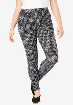 Stretch Cotton Printed Legging, BLACK GREY LINE