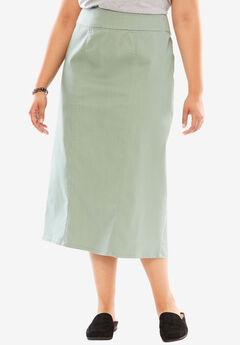 Comfort waist A-line denim skirt, DUSTY JADE, hi-res