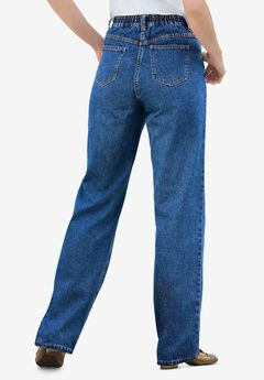 Back-Elastic Straight Leg Cotton Jean,
