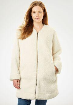 Fluffy Fleece Long Coat, IVORY