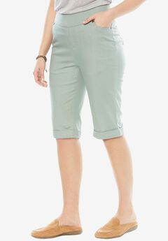Smooth Waist Bermuda Jean Short, DUSTY JADE
