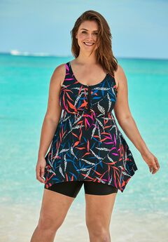 Handkerchief-Hem Tankini Top by Swim 365,