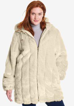 Hooded Faux Fur Jacket, OATMEAL, hi-res