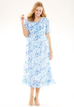 Pintuck print dress, BLUE GARDEN FLORAL, hi-res