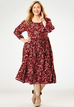 Empire Crinkle Dress, RICH BURGUNDY VINE
