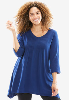 Pintuck tunic, EVENING BLUE, hi-res