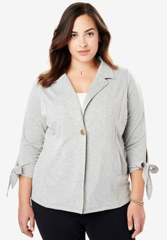 Tie Sleeve Fleece Blazer,