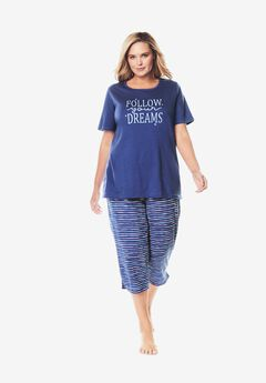 Graphic Tee Capri PJ Set by Dreams & Co.®, ULTRA BLUE DREAMS