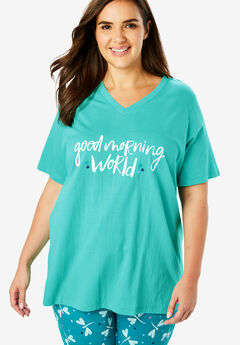 V-Neck Sleep Tee by Dreams & Co.®, GREEN TURQUOISE MORNING