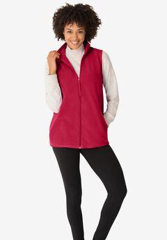 Zip-Front Microfleece Vest, CLASSIC RED