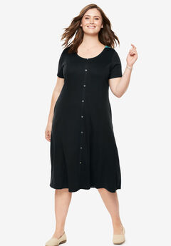 Faux Button Front Tee Dress,