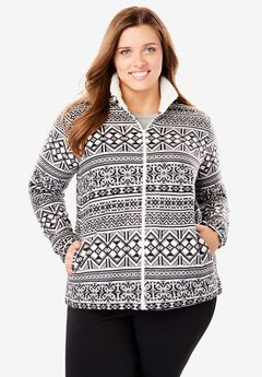 Sherpa-Lined Printed Microfleece Jacket,