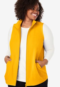 Zip-Front Microfleece Vest, BRIGHT GOLD