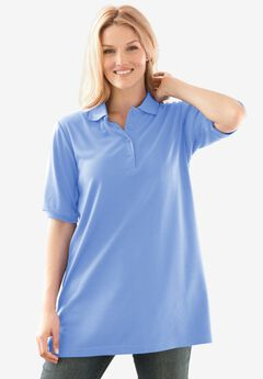 Elbow-Sleeve Polo Shirt, FRENCH BLUE