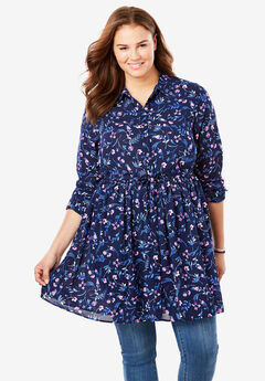 Printed Maxi Button Down Tunic Blouse, NAVY DANCING FLORAL
