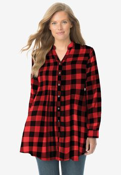 Pintucked Flannel Shirt, VIVID RED BUFFALO PLAID