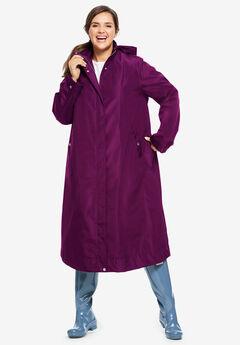 Water repellent long raincoat,