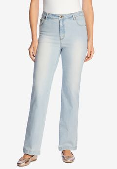 Wide Leg Stretch Jean, LIGHT WASH SANDED