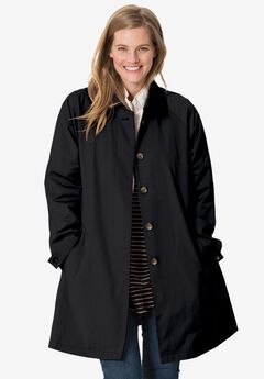 Water-resistant A-line raincoat, BLACK, hi-res