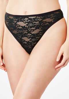 Lace Thong by Comfort Choice®, BLACK