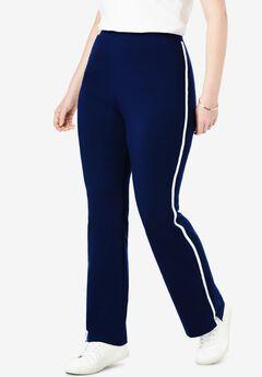 Stretch Cotton Side-Striped Bootcut Yoga Pant, NAVY WHITE, hi-res