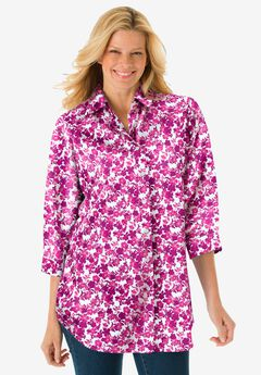 Printed Three-Quarter Sleeve Perfect Shirt, RASPBERRY SHADOW FLORAL
