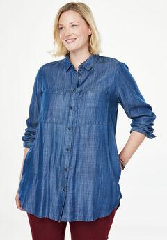 Denim Button-Down Tunic Shirt, MEDIUM STONEWASH, hi-res