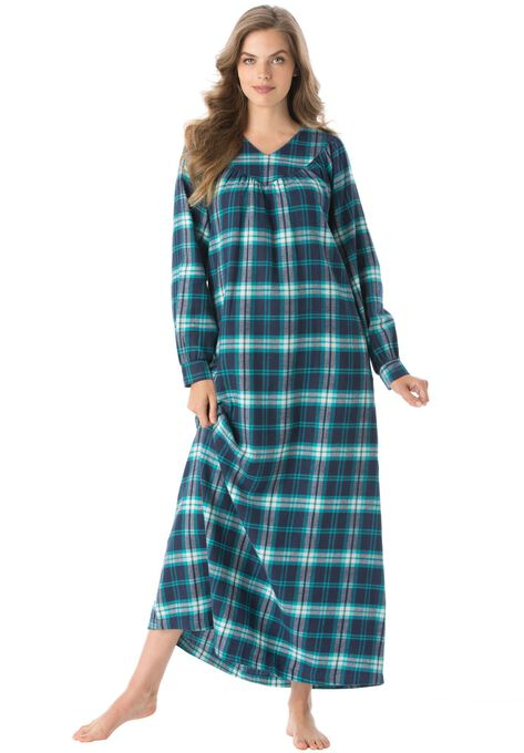 Soft Flannel Plaid Gown By Only Necessities Plus Size Petite